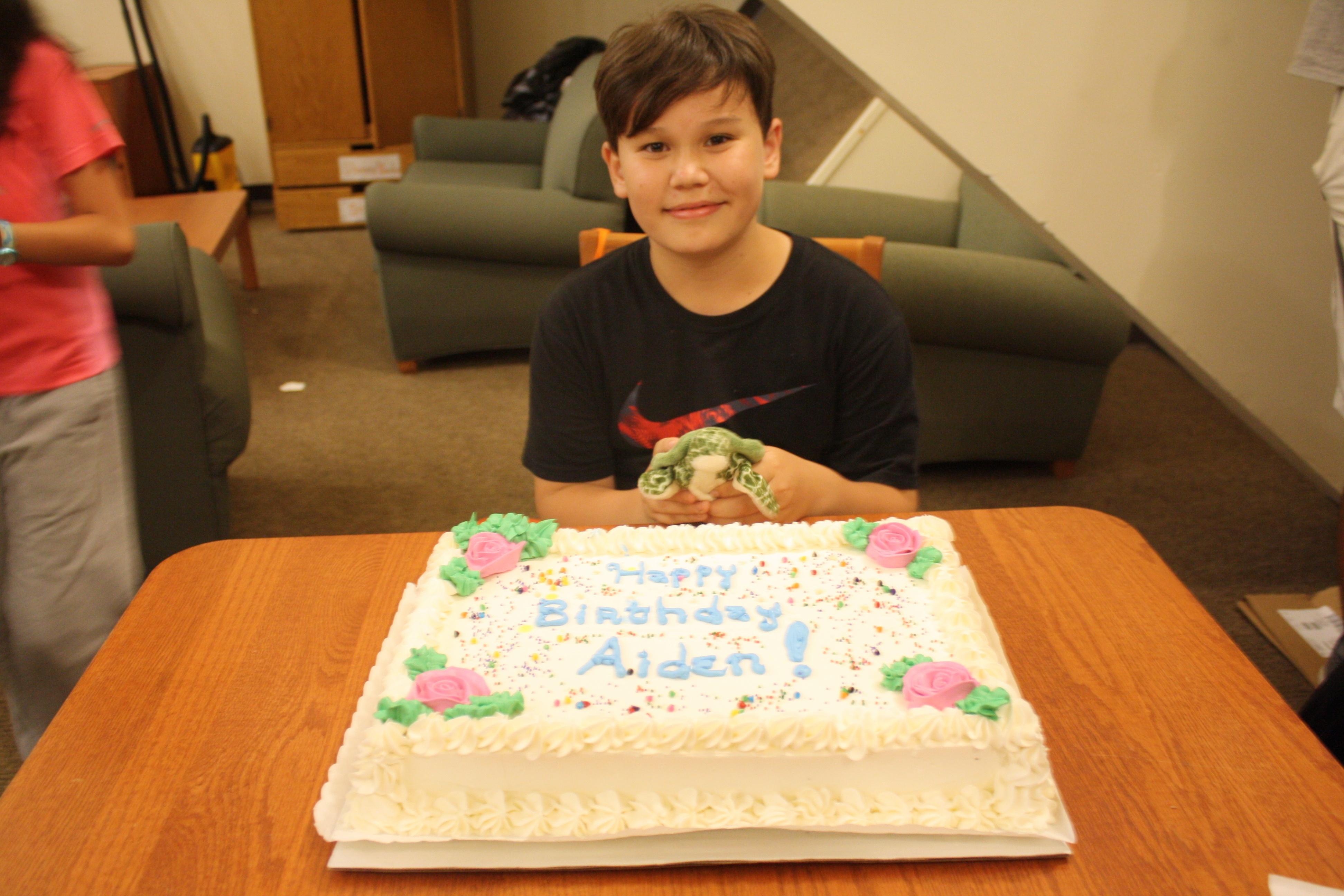 Aidan enjoying his summer birthday party in the dorm.