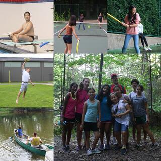 A collage sampling some of the fun we've explored in past years -- hiking, canoing, tennis, ultimate, swimming, and baseball.