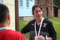 Ms. Melvoin explains the history of the Pioneer Valley while on a class field trip.