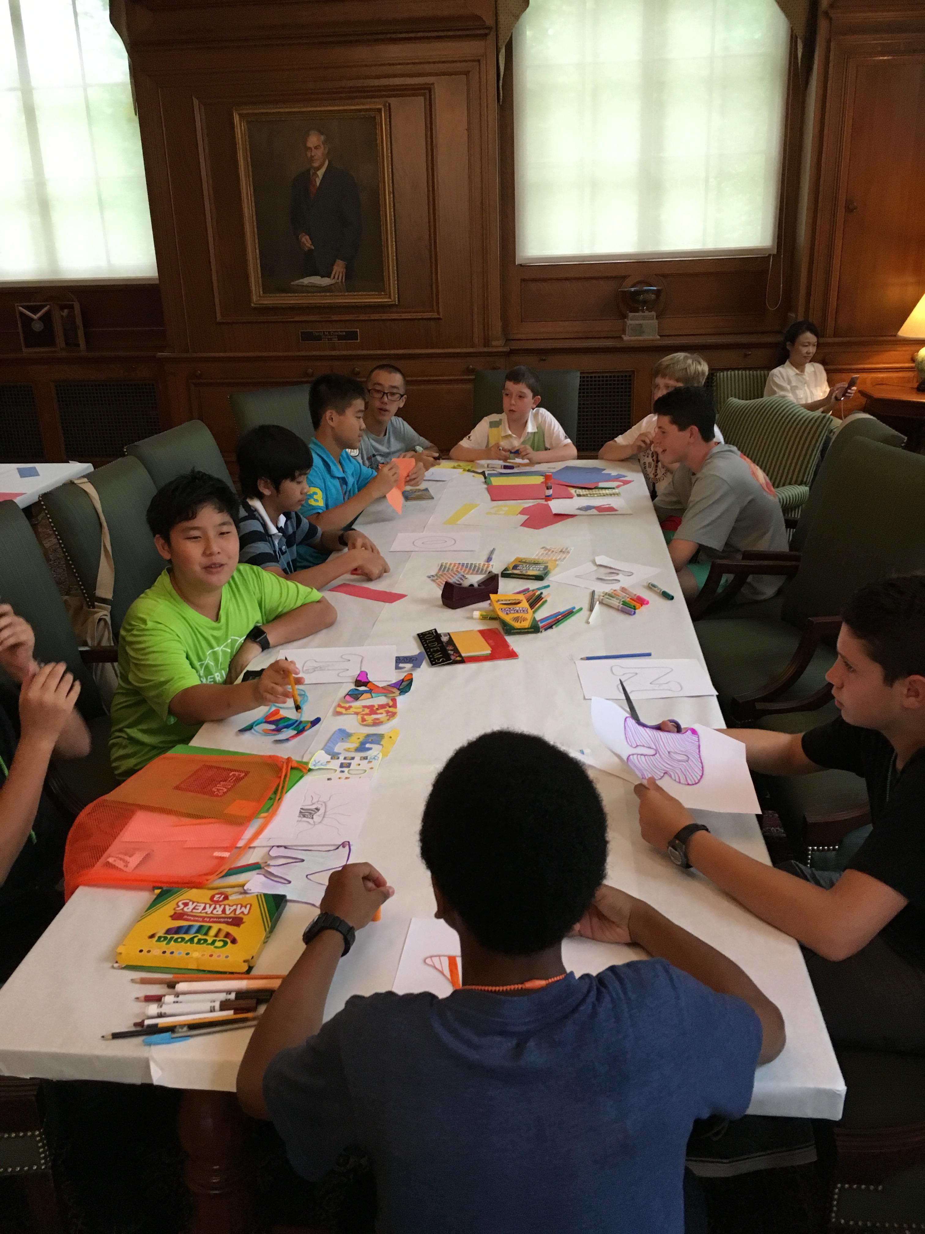 Students work on an art project in the MSB's Caswell Library.