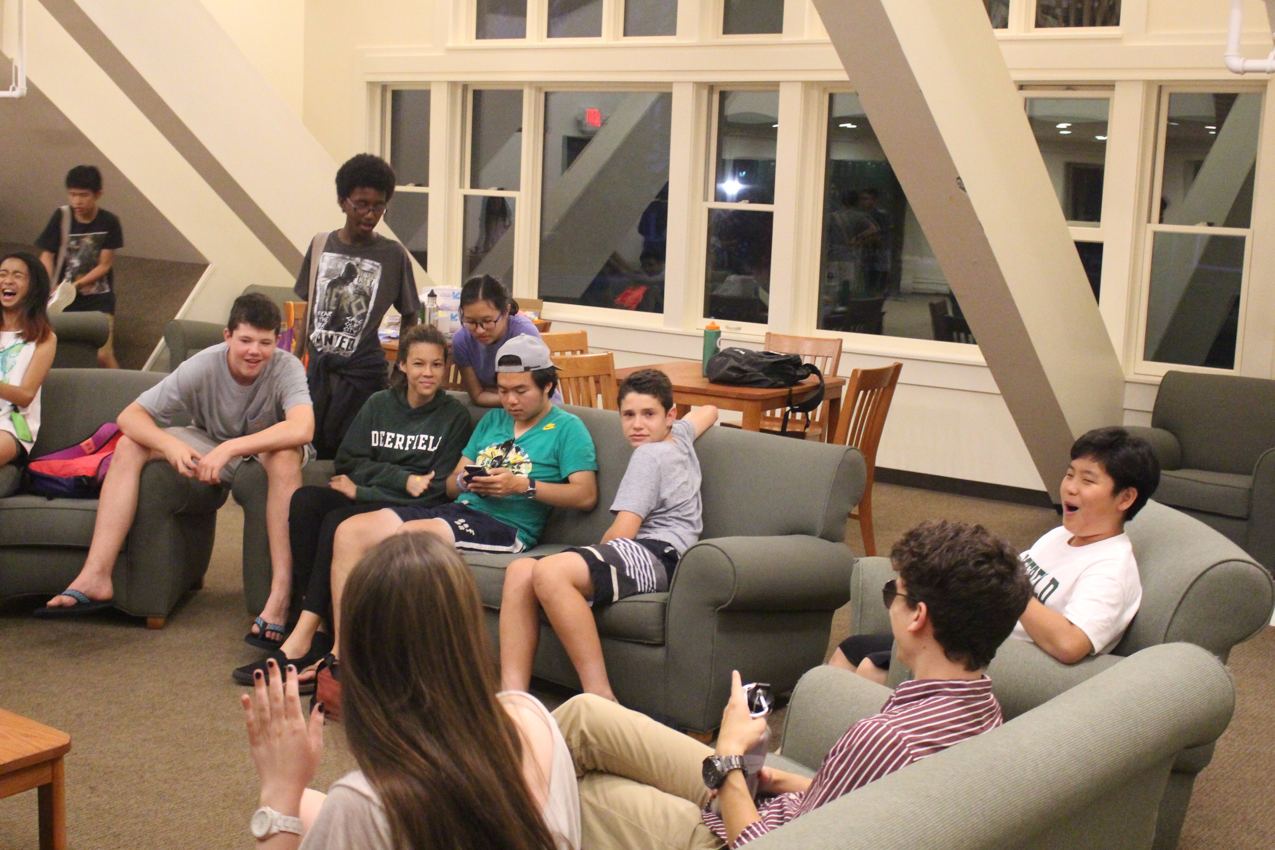 Students hanging out in the Dorm Common Room.