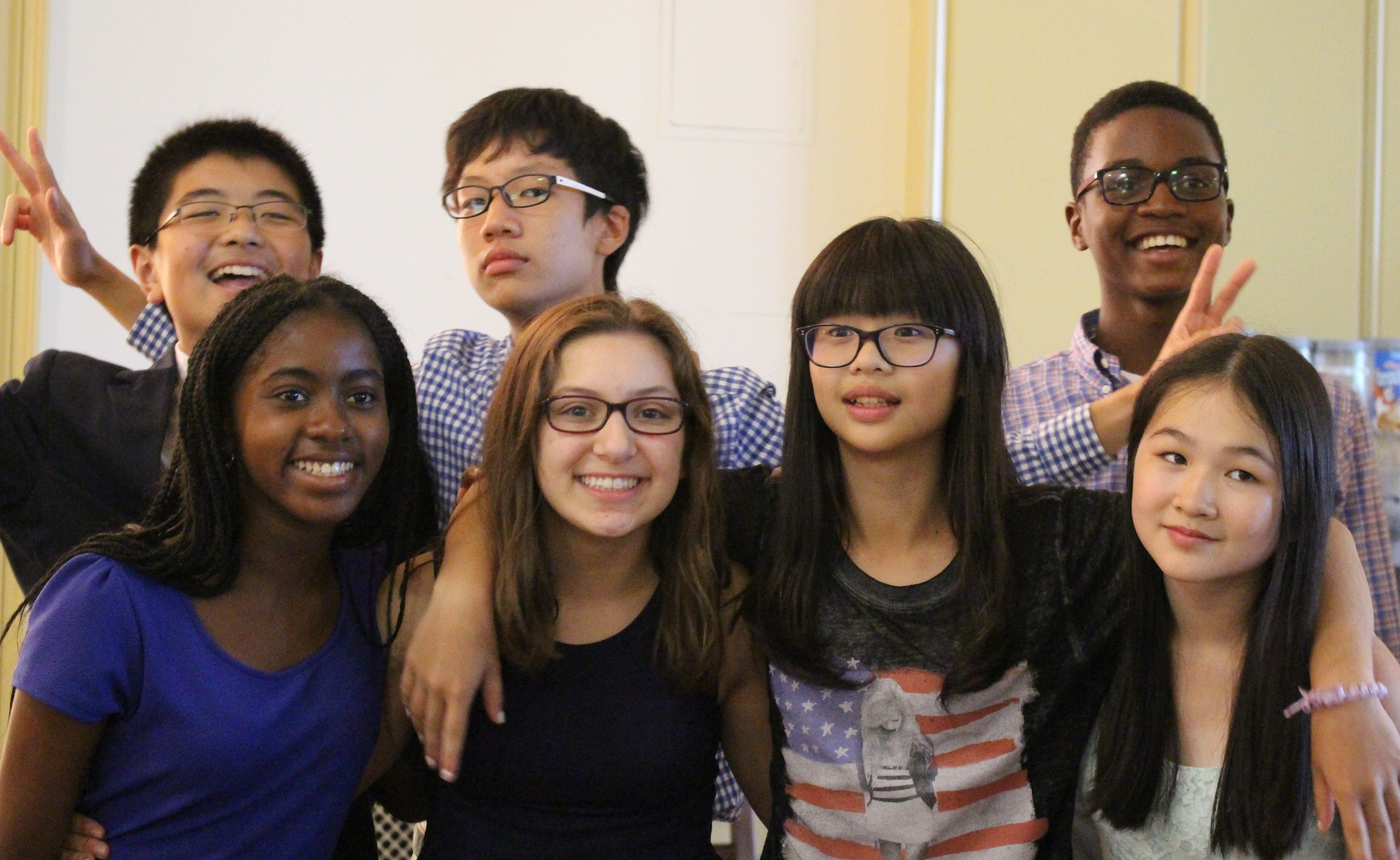 A group of students pose at the Final Experimentory Celebration in 2015.