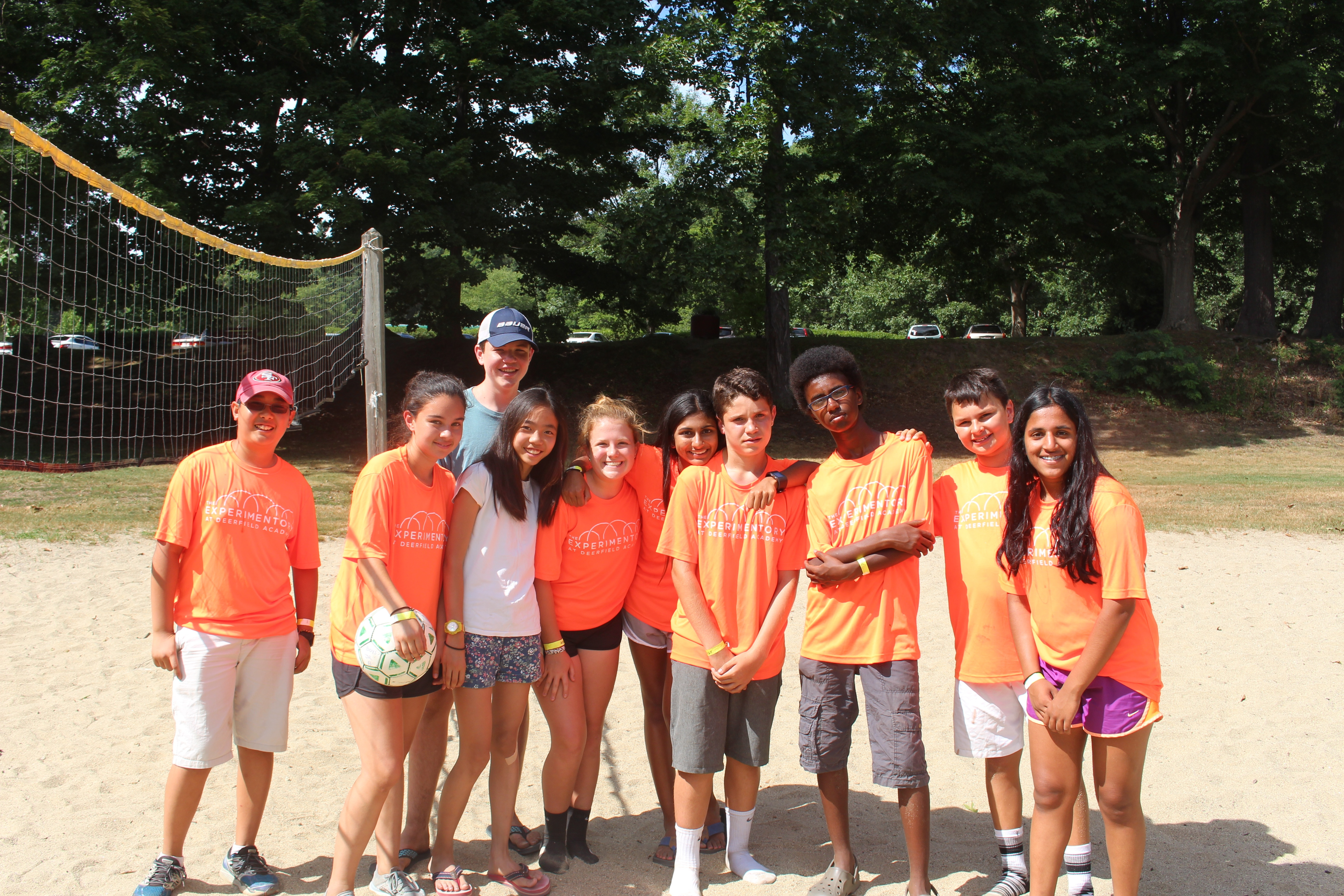Experimentory students stand out - in this case because of their bright shirts on the volleyball court.