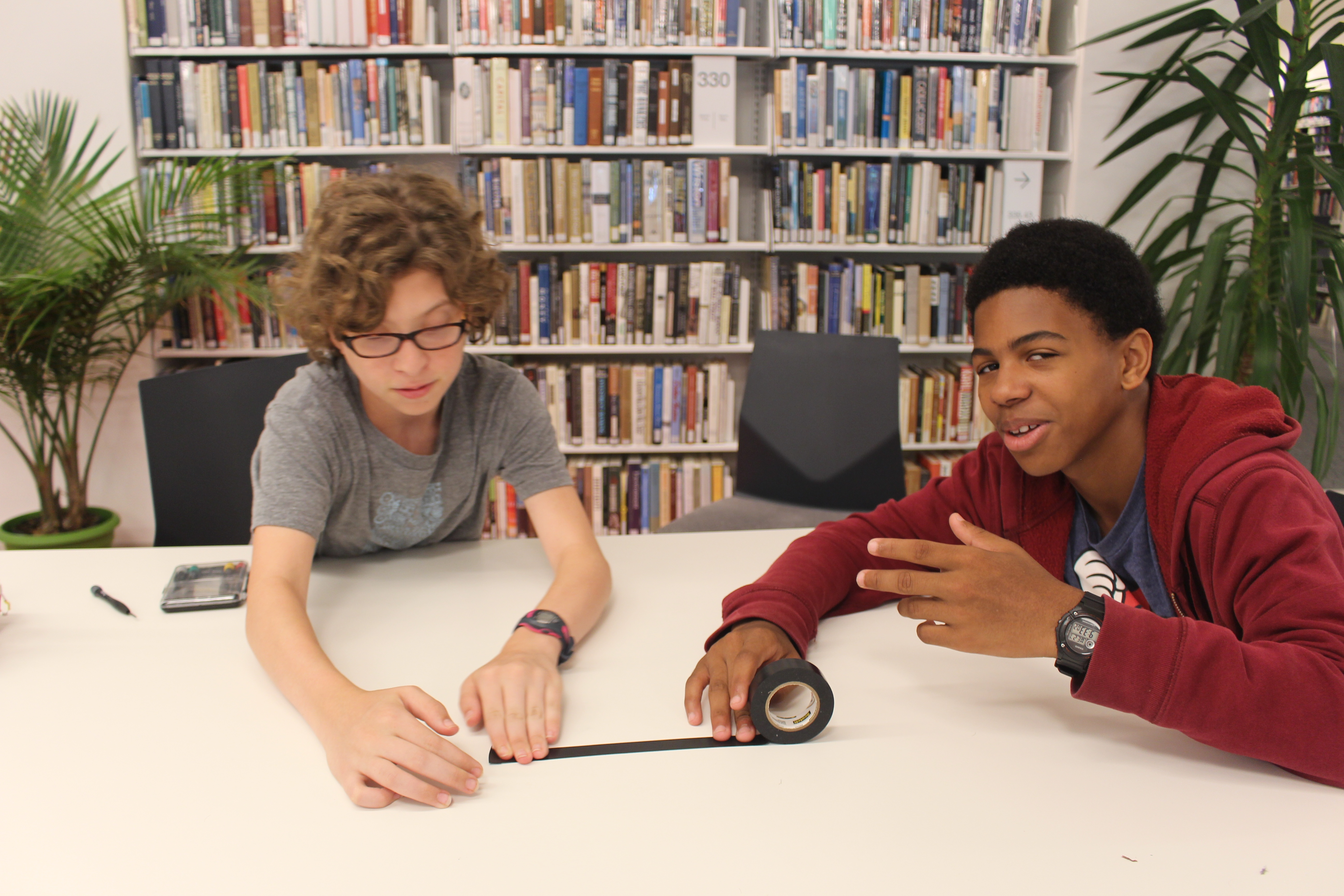 Coryell and Tysean's robot will be making its acting debut later this week in Theater + Electronics class