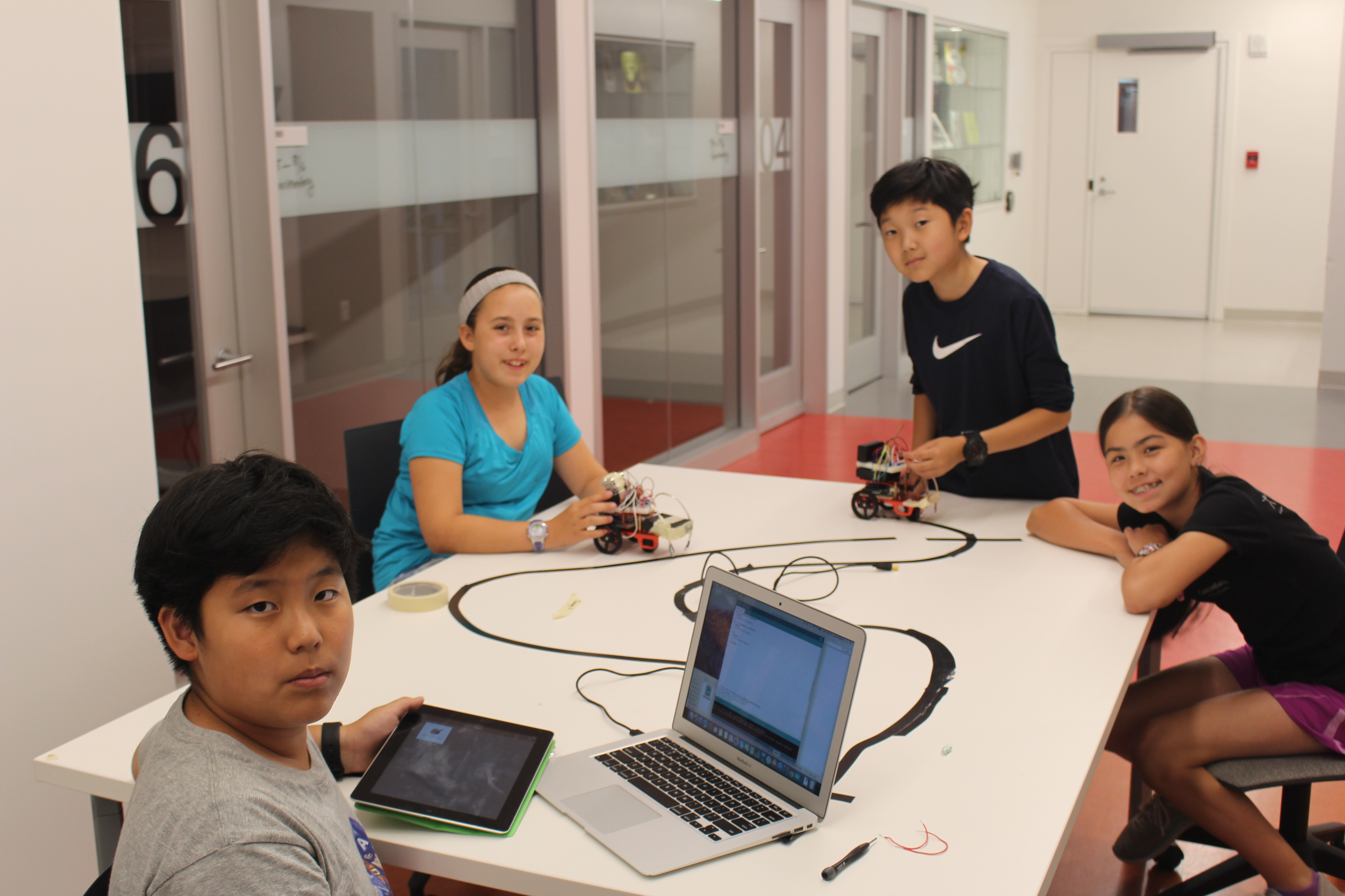 After hours of programing, Brandon, Bella, William and Lucy are ready to test their robotic actor!