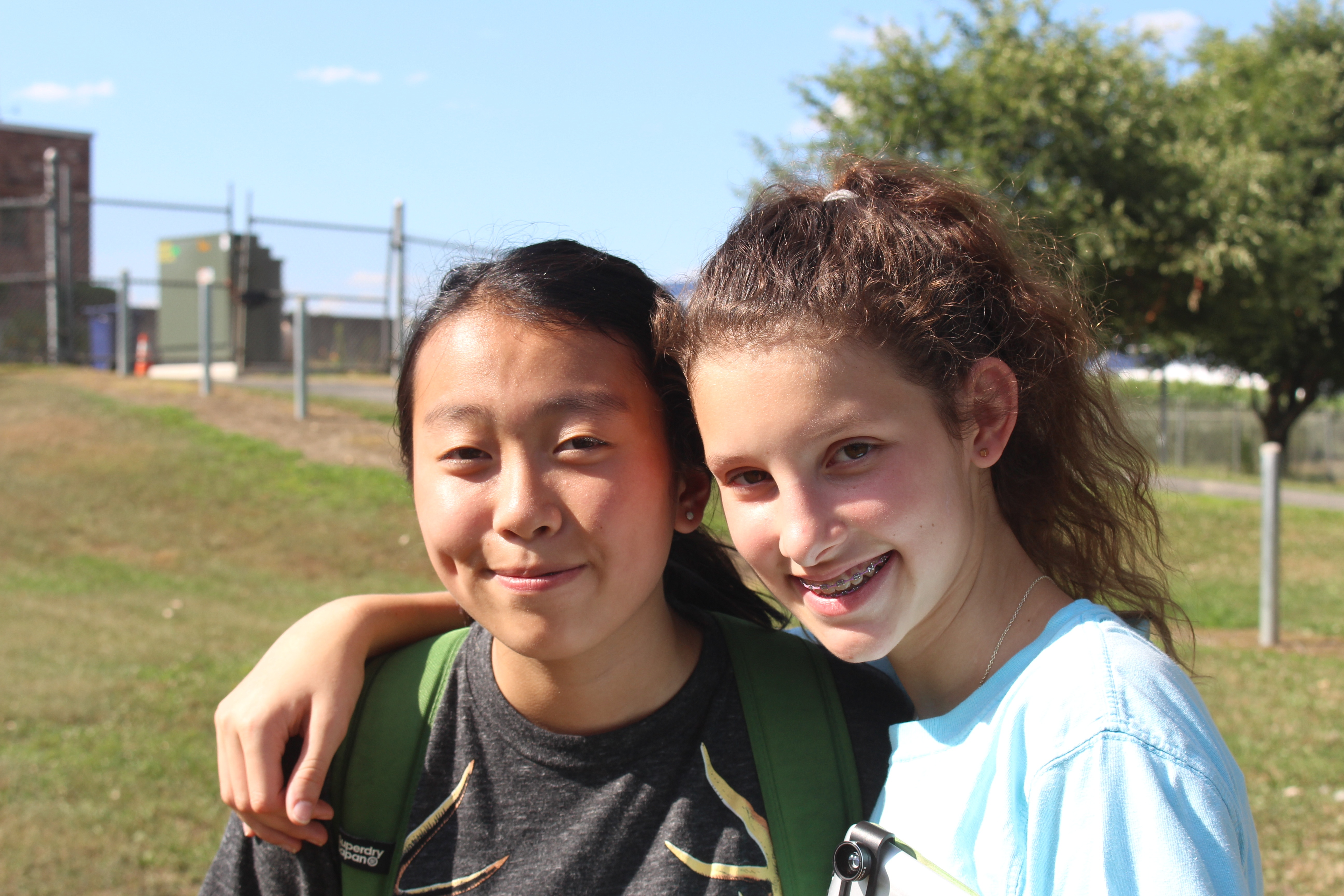 Natasha and Lucia explore and photograph nature during an afternoon cocurricular time.