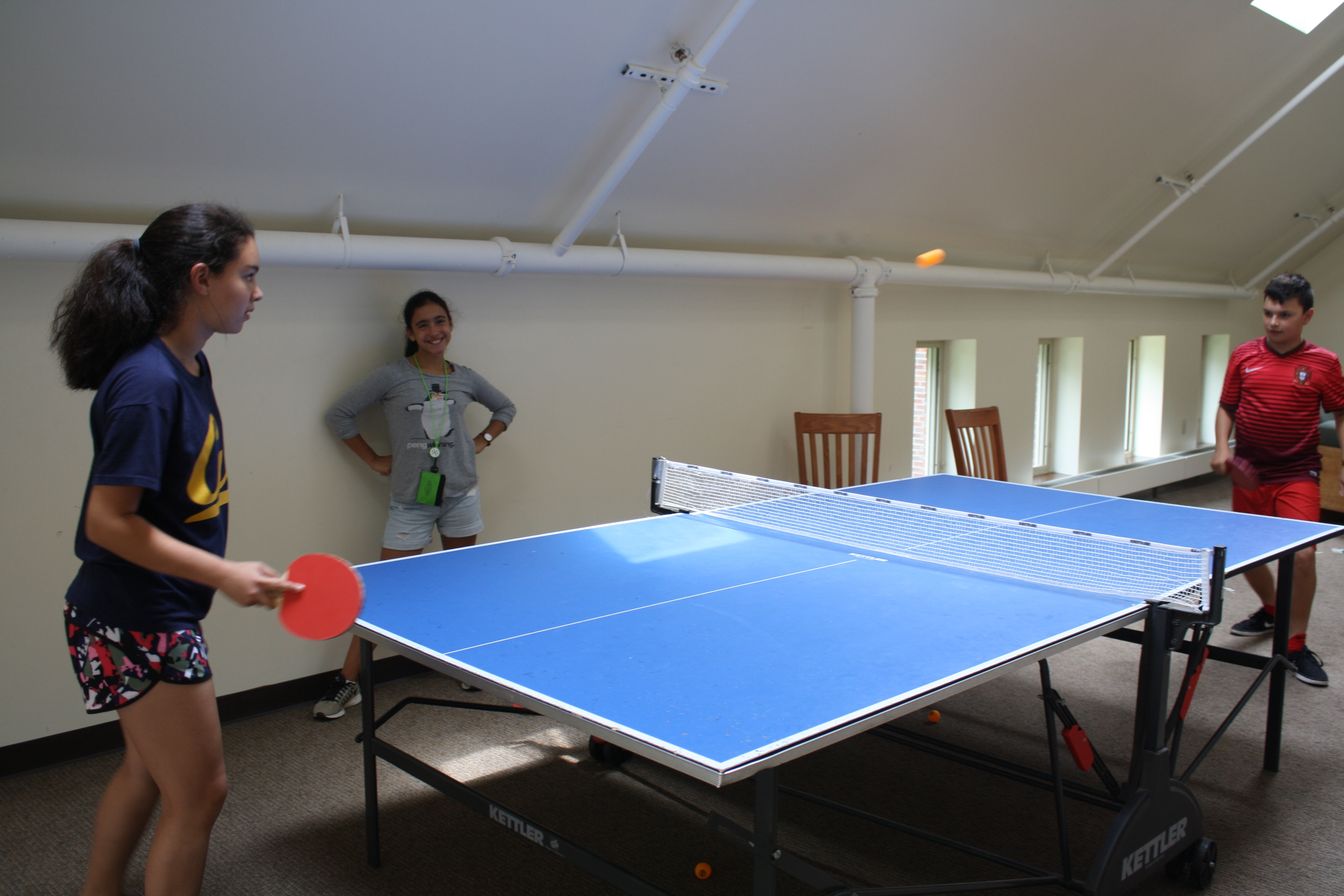 A heated pingpong match between two siblings, Ava and Abram.