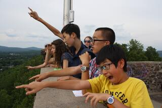 Students atop the Poet's Seat Tower in Greenfield during their Nature Walks  Co-Curricular.