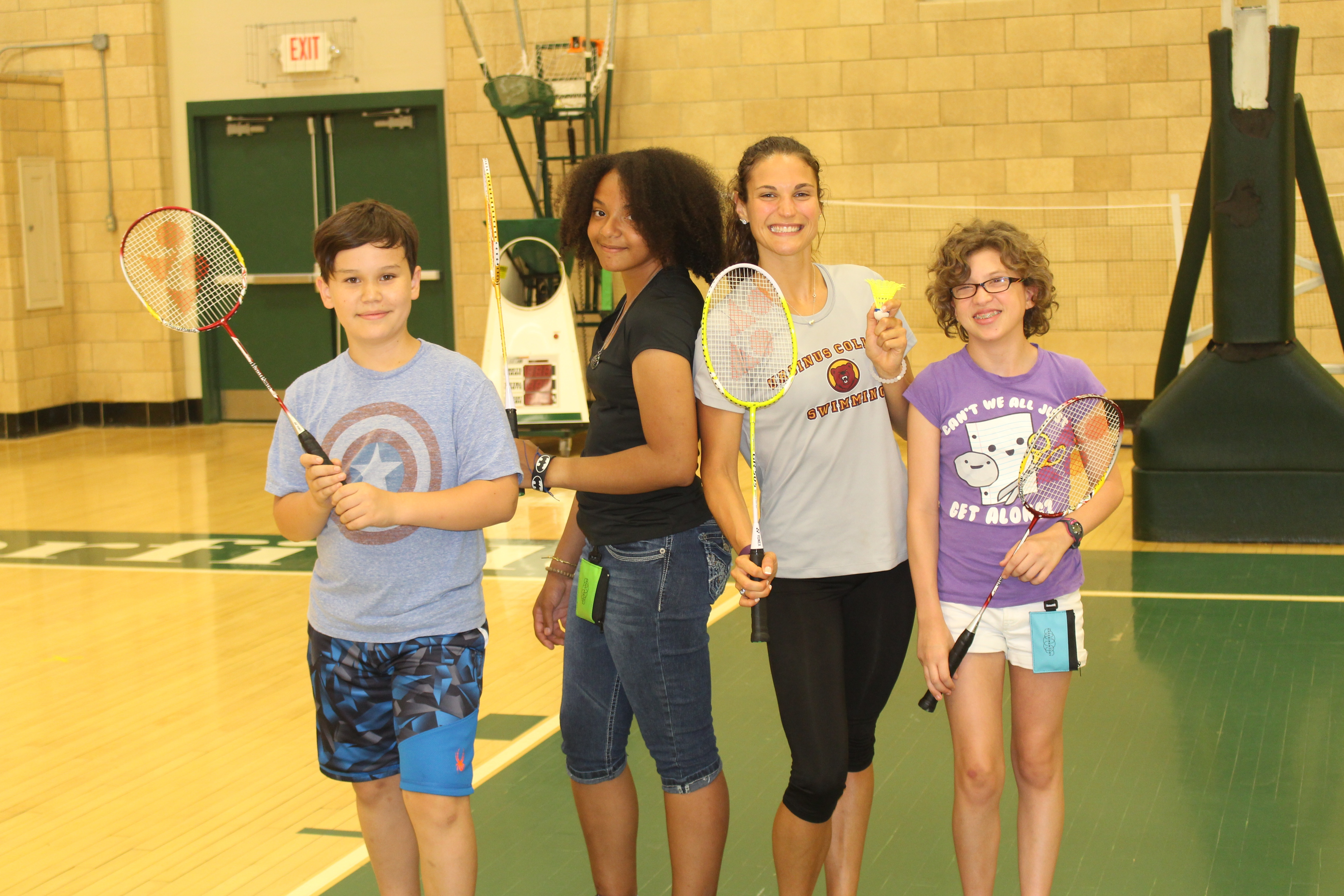 These four spent their free time playing badminton in the Deerfield Academy gym.