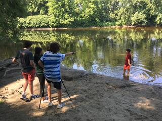 Students film a swimming scene in the Deerfield River.
