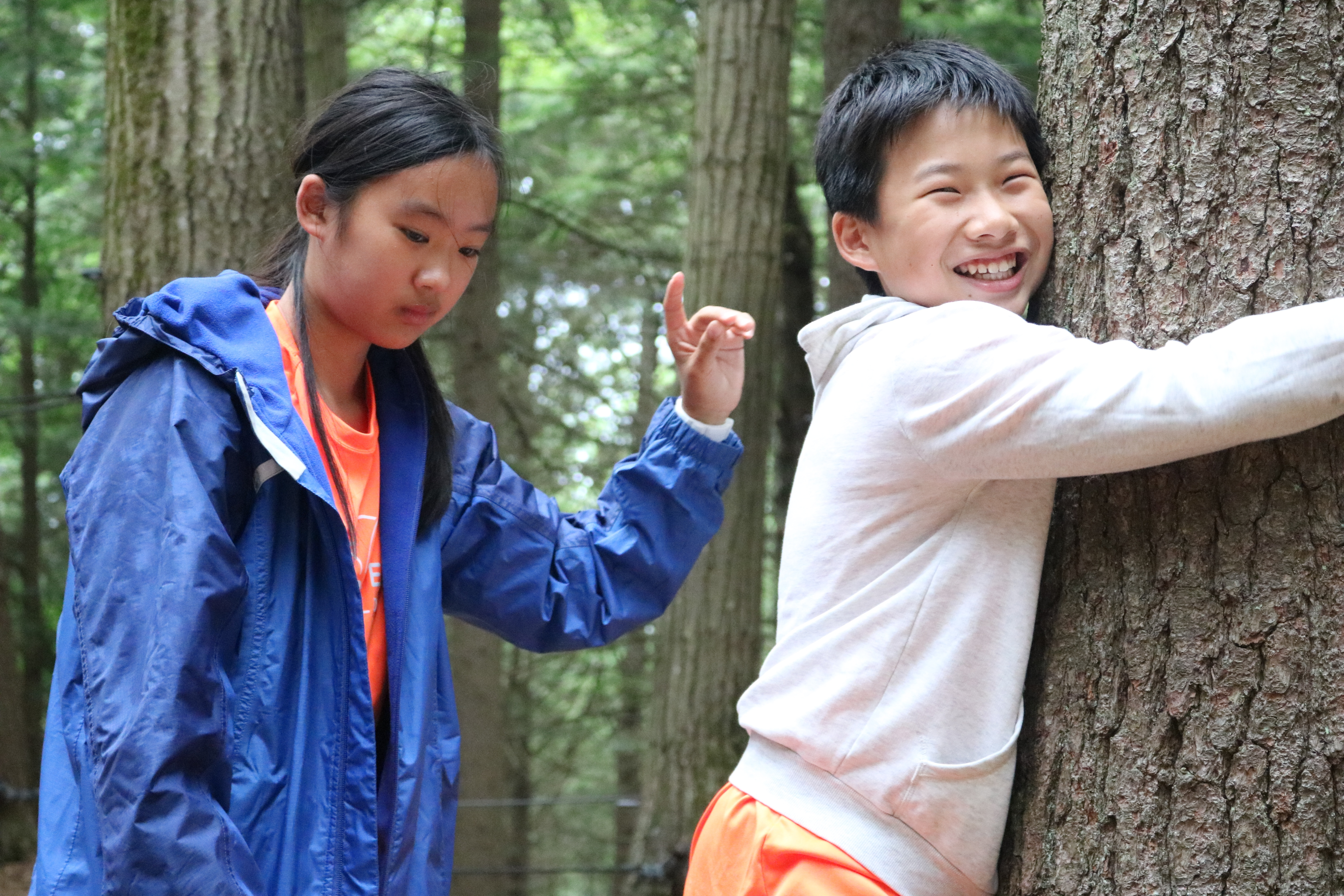 middle school students on ropes course during summer program teaching creativity and character