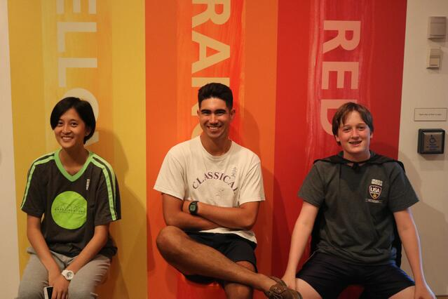 Stephanie (a student from China), Sam (a proctor from Rhode Island) and Will (a student from Texas) together for Exp17.
