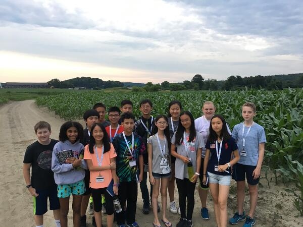 Students on an evening field trip to the lower fields