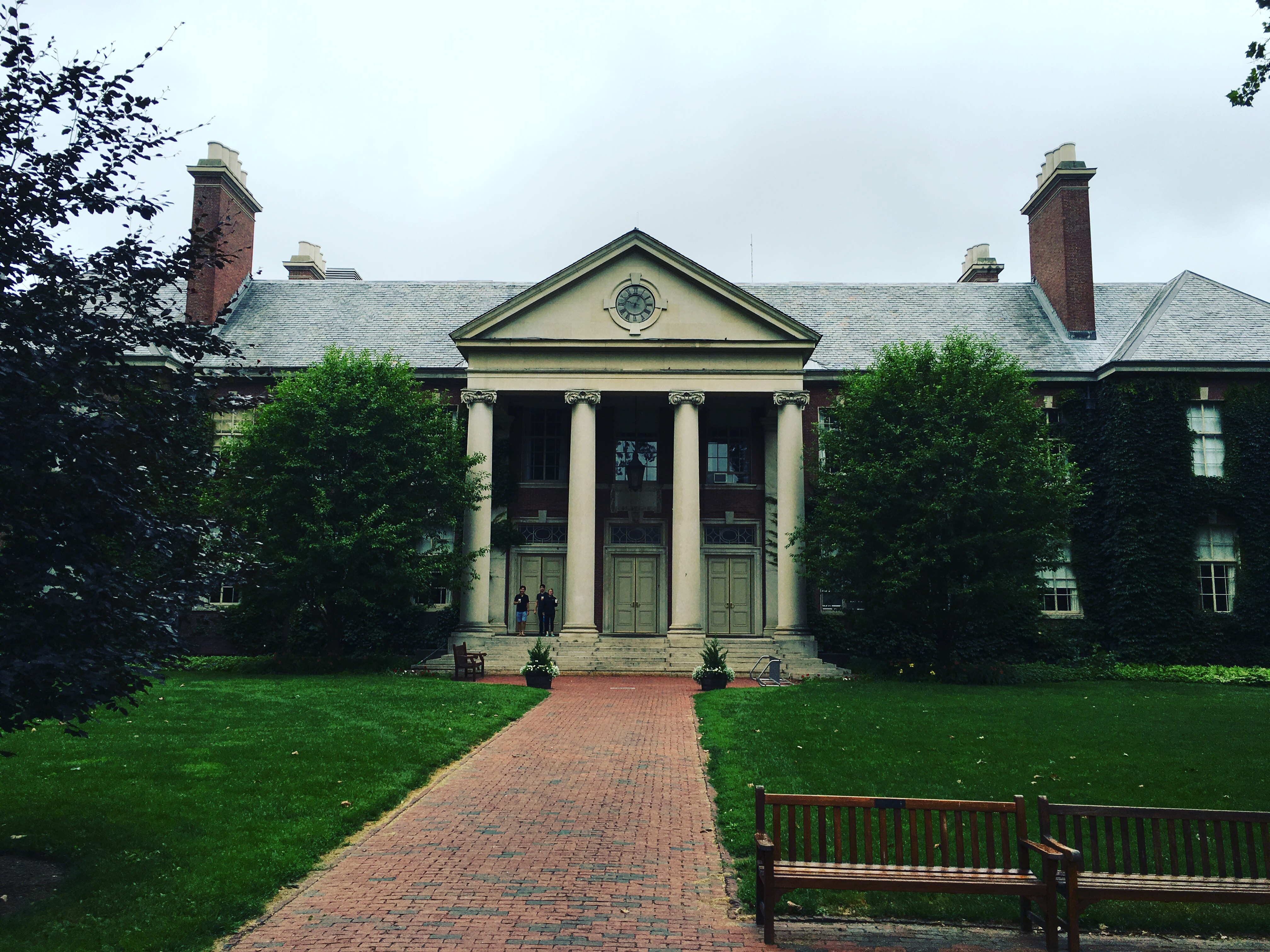 The exterior of Deerfield Academy's Main School Building as seen from the road.