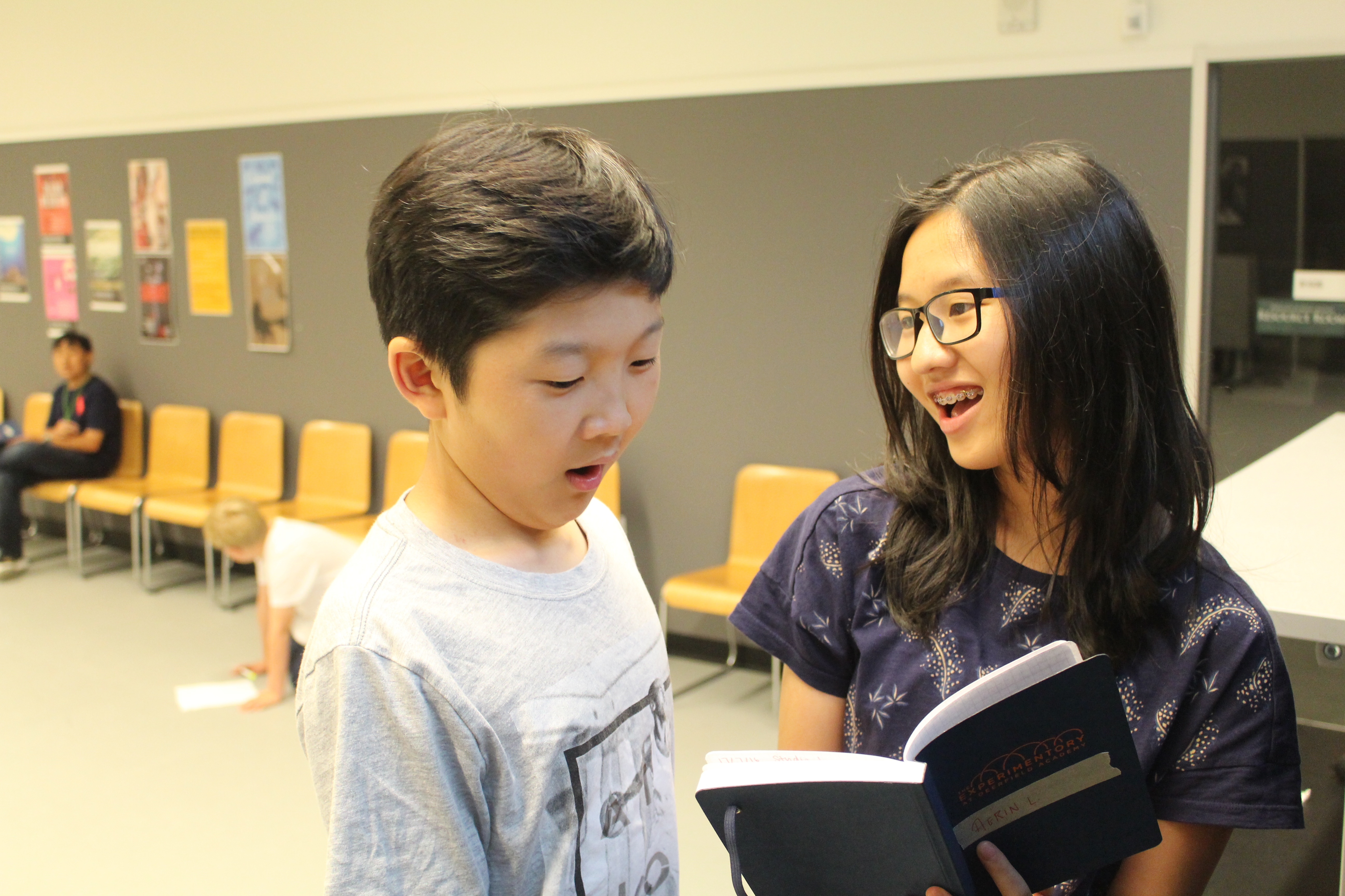 William and Aerin recite their lines for Communications class.
