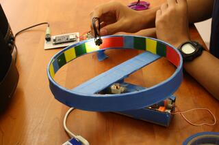 Creativity at work: A colorful wheel spins and an electric eye translates colors into musical notes.